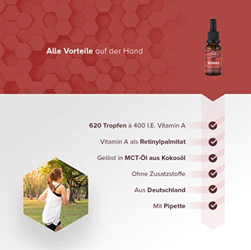 Vitamin A Tropfen als Retinol • 400 I.E. Retinylpalmitat pro Tropfen – 2000 I.E. pro Tagesdosis • In MCT-Öl gelöst • 620 Tropfen • Allergenfrei • Vegan • Mit Pipette - 3
