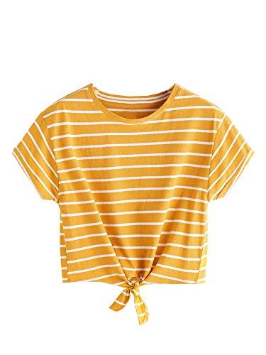 Romwe Damen Gestreift Crop Top Kurzarm Streifen Shirt Gelb