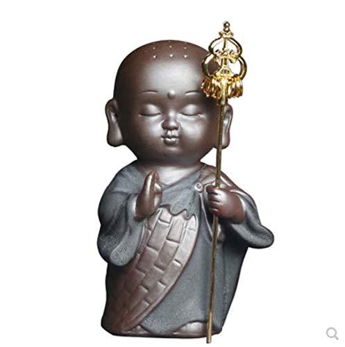 HIOLYU Zen Walker kleine ABT Keramik Kleiner Mönch Tee Haustier kleine Ornamente Einrichtung Buddha Auto nach Hause Tee-Set Ornamente - Abt Tee