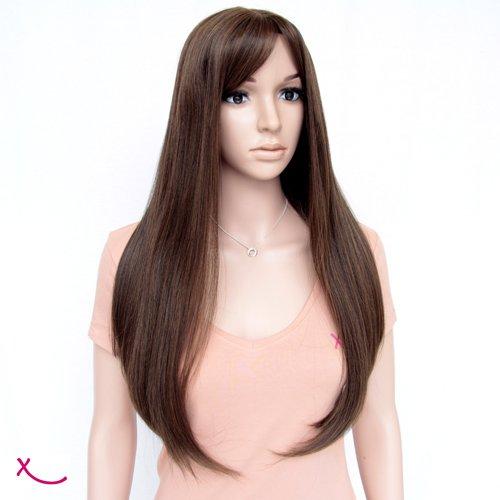 Extiff-Peluca mujer cabello liso flequillo-50cm/20