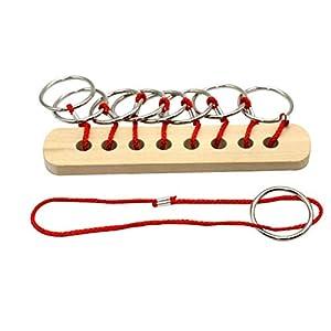 TOYANDONA Schnur Seil Ring Puzzles Spielzeug Holz Intelligenz Denkaufgabe Mind Game Puzzle Lernspielzeug (Seil Ring Puzzles)