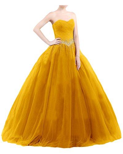 Promgirl House Damen 2016 Prinzessin Herz-Ausschnitt Abendkleider Ballkleider Hochzeitskleider Lang Gelb