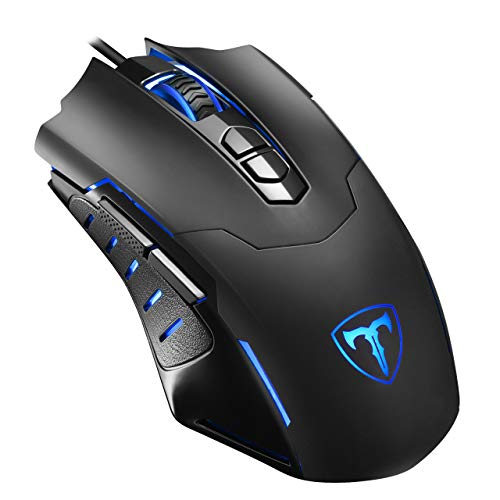 VicTsing Mouse da Gioco con Filo, 7200dpi Gaming Mouse programmabile, 7Pulsanti, 5dpi Regolabili, Colore a Scelta per PC Computer Portatile Gamer Ufficio-Nero
