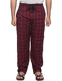 Twist Men's Red And Black Printed 100% Cotton Pyjama Sleepwear Night Wear With Contrast & Free Shipping