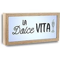 Versa 21430014 Cuadro Luz La Dolce Vita, 15x4x30cm, Madera