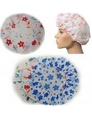 Sai positive 3 Pieces Waterproof Reusable Bathroom Shower Caps for Women (Multicolour)
