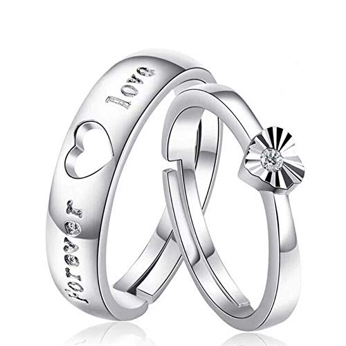 RVM White Rhinestone Adjustable Heart Shape with Forever Word Couple Ring for Men and Women