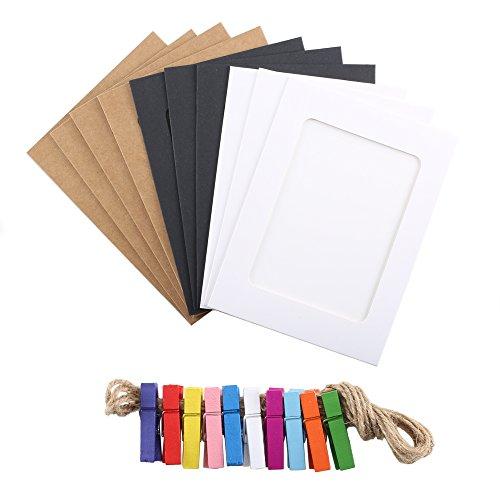 Pulluo 10pcs Papier Bilderrahmen Kraftpapier Papierrahmen zum Aufhängen Collage Fotorahmen mit Leine und Mini Wäscheklammern DIY Fotowand Wanddeko für Fotos Bild Notiz Memo DIY Paar 4x6cm