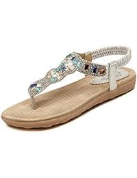 Easemax Damen Modern Zehentrenner Clip Toe Glitzer Strass Böhmen Sandalen mit Keilabsatz Gold 35 EU