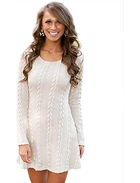 CRAVOG Damen A-Line Kleid Strickkleider Langarm Sweater Tops Jerseykleid