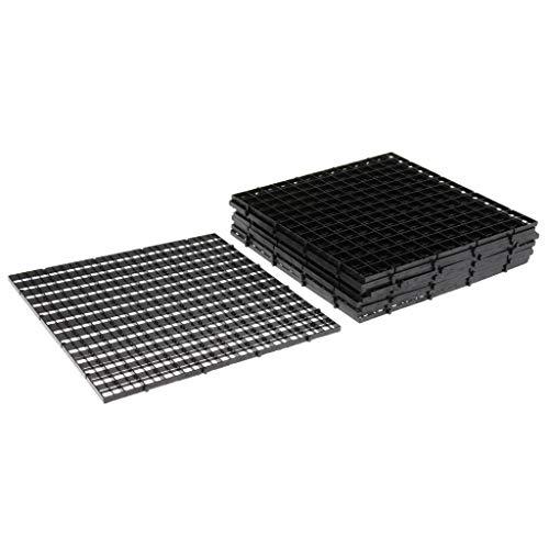 perfk 10-teiliges Aquarium Trennwand Gitterplatte Bodenfilter Isolation Board - Schwarz