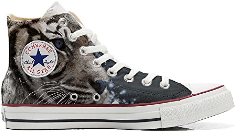 Converse Personalizzate all Star scarpe da ginnastica Unisex (Scarpa Artigianale) Tigre Bianca | Per Vincere Elogio Caldo Dai Clienti  | Uomini/Donna Scarpa