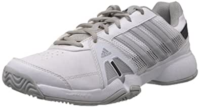 adidas Men's Barricade Team 3 White and Silver Tennis shoes - 7 UK