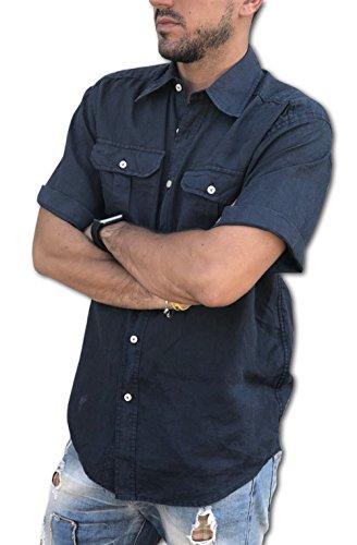 Puro lino camicia uomo doppio taschino manica corta tg. m, l, xl, xxl, 3xl estate 2018 (m, blu)