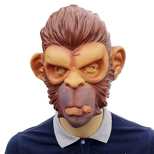 MIANJU Gruselige Zombie Halloween Maske Rauch AFFE Spielt Cool Halloween Perücke Karneval Cos Orang-Utan Requisiten Maske Menschen Herrschsüchtig Fliegenden Pferdekopf (Fliegende Affen Kostüm)