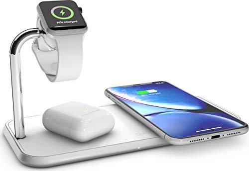 Zens Qi-und MFi-zertifiziertes kabelloses Aluminium 3fach-Ladegerät für Zwei Geräte + Apple Watch, Fast Charging für Apple iPhone XS/Xs Max/Xr/X/8/8 Plus - Funktioniert mit Allen Qi-fähigen Geräten -