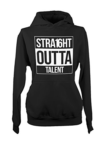 Straight Outta Talent Amusant Cool Femme Capuche Sweatshirt Noir