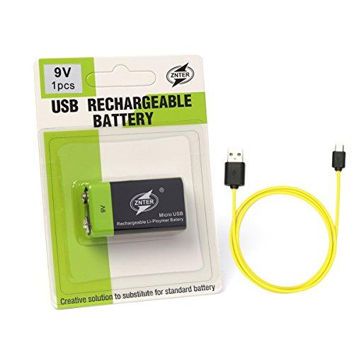 1Stück 9V 400mAh Lipo Akku Pack Li-Ion Lithium Micro USB wiederaufladbare Batterien mit Micro USB für Meter und Fire Alarm (Aaa-lipo-akku)