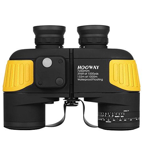 Hooway - Binocolo nautico 7x 50 mm, sistema prisma di Porro, con telemetro interno e bussola, impermeabile, antiappannamento e galleggiante