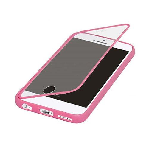 F8Q antichoc Robuste Colorful Hybrid Transparent Window caoutchouc flip étui de protection pour iPhone 6S plus Rose