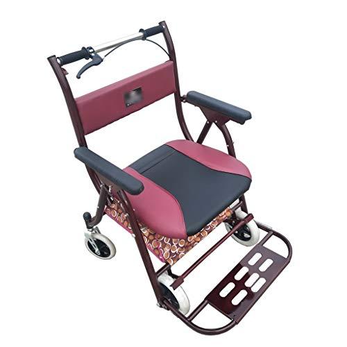 Plus Krücken (Xhh Einkaufswagen Tragbarer Roller Faltender Rollstuhl Alter Mann Krücken Home Einkaufswagen Mit Sitz Erweitert Plus Gewicht Sitz Geschenk Können 150 kg (Color : RED, Size : 49 * 90CM))