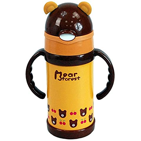 CrazyGadget® 280ML Stainless Steel Travel Mug Water Thermos Animal Kids Flask Thermal Cup Bottle (Bear