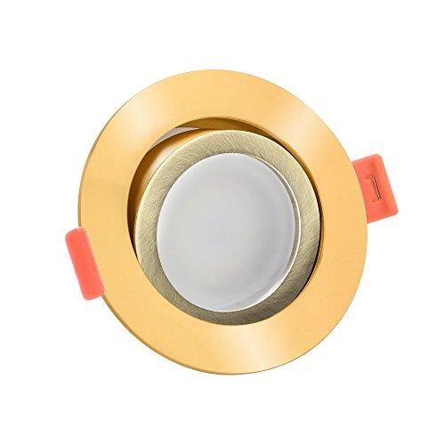 LUXVENUM® | 1x dimmbare LED Einbaustrahler | GU10 230V | Höhere Farbwiedergabe als die meisten LED-Strahler Ra >90 / Cri 90 | 6W statt 50W | 3000 Kelvin 400 Lumen | Runde Leuchtdiode aus goldenem & Bronze-gebürstetem Aluminium, bicolor | 120° Abstrahlwinkel | warmweiße Lichtfarbe dank Einbauleuchten | 1er Set Forma warmweiß 3000K (Golden-beleuchtung Bronze-beleuchtung)