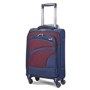 Aerolite Leichtgewicht 4 Rollen Handgepäck Trolley Koffer Bordgepäck Kabinentrolley Reisekoffer Gepäck, Genehmigt für Ryanair, easyJet, Lufthansa, Jet2 und viele mehr, Marineblau/Pflaume