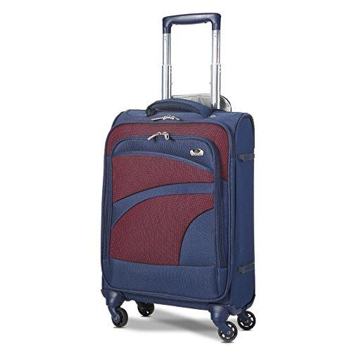 Aerolite Leichter 4 Rollen Handgepäck Trolley Koffer Bordgepäck Reisekoffer Gepäck für Ryanair, easyJet, Lufthansa und mehr, Marineblau/Pflaume