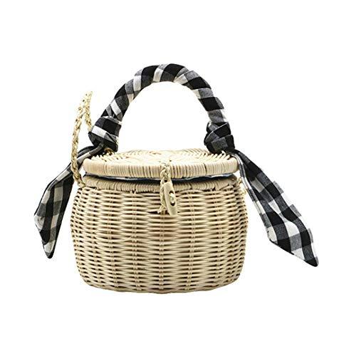 Handtasche Eimer Taschen für Frauen Retro-Mode Strandtaschen Rattan Crossbody Messenger Designer Totes Black