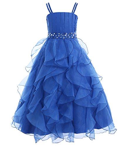 IEFIEL Vestido Largo de Ceremonia Boda Fiesta para Niña Vestido de Princesa Tutu Vestido Tirante de Gala Elegante Traje de Fiesta sin Mangas Azul 10 años