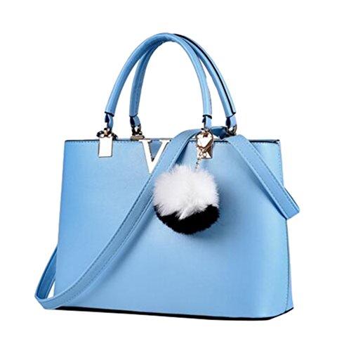 YAANCUN Donna Borse Tote Shopping Pelle Sintetica Borse A Tracolla Azzurro