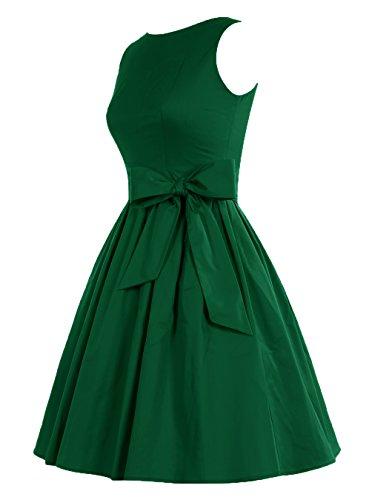 Find Dress Robe Courte Classique année 50 Vintage Robe de soirée/Bal pour Noel Femme avec Noeud de papillon Vert