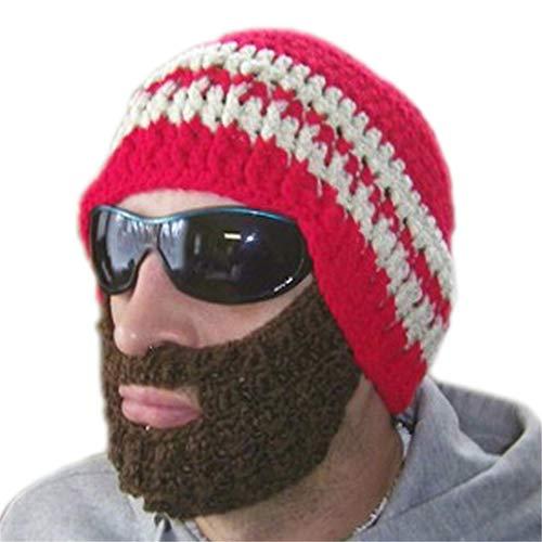 Erwachsene Neuheit Hüte für lustige Acryl handgemachte Gestreifte Strickmütze Bart Hut für Männer Frauen ()