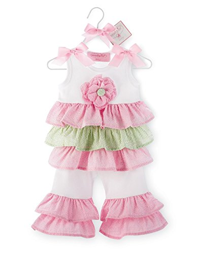 Mud Pie 173205 Seesucker Disco Ruffle Set Kleid weiß rosa grün mit Hose - Pie Kleider Mud