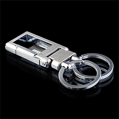 Avec boutique Porte-clés de voiture Homme et femme Porte-clés à double anneau simple Porte-clés ( Couleur : Bright chrome )