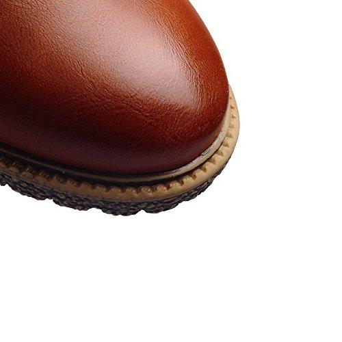 AllhqFashion Femme à Talon Bas Matière Souple Couleur Unie Lacet Rond Chaussures Légeres Brun