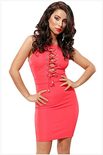 meinice Lace Up Front Halterneck Mini vestito Pink Large