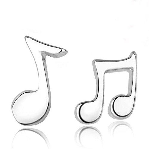 Hanie Damen Ohrringe Musik Note klein Ohrstecker 925 Sterling Silber Unregelmäßige Asymmetrie Cluster Süß Ohrschmuck für Tochter Mädchen Kinder zum Geburtstag