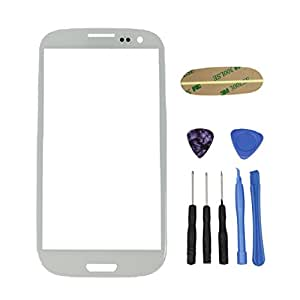 Genuine Samsung Galaxy S III 3 GT-i9300 i9305 Marble White Front Glass Lens Replacement + Adhesive & Tools
