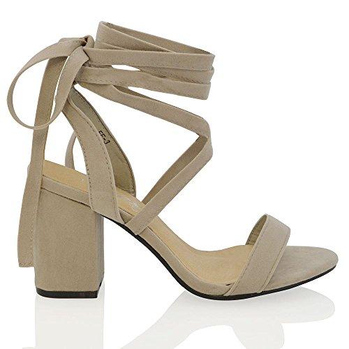 Essex Glam Sandalo Donna Tacco a Blocco Medio Allacciatura Cinturino Caviglia Grigio Finto scamosciato
