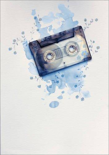 Póster 50 x 70 cm: Music Tape with Flowers and Watercolour Wash de Sybille Sterk - impresión artística, Nuevo póster artístico