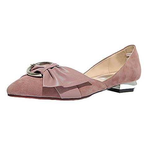 ENMAYER Femmes Slip on Rose Low Heels Pointed Toe sandales boucles Pompes Bow Tie ShoesEU 40