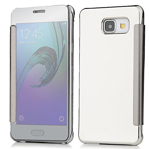 Custodia per Samsung Galaxy A5 2016,,Cover in Pelle PU Case Specchio ultra sottile - Mavis's Diary Custodia con il caso della copertura di vibrazione - Colore argento