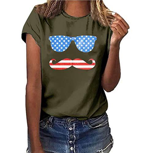 Fuibo Damen T-Shirt Sommer Lose Shirt Tees Große Größe Lippen Drucken T-Shirt BeiläUfige Lose Kurzarm Schick TäGliches T-Shirt Rundhals Tunika (XL, Army Green) -