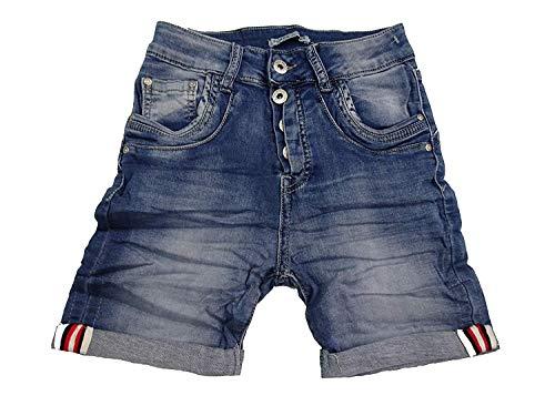 PLACEduJOUR Sweat Denim Krempel Bermuda Capri Jeans Hose Shorts offene Knopfleiste (M-38, New Denim Shorts) - Vorne Stretch Denim