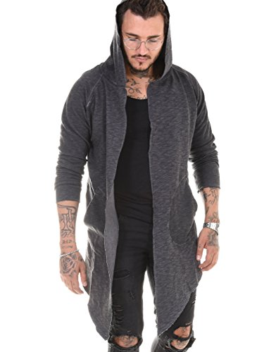 BAXMEN CULTWEAR Herren Cardigan Hoodie Destroyed Jacke Lang Strickjacke Hooded Long Sweatjacke Lang Vintage Slim Fit 171. Dark Gray XX-Large