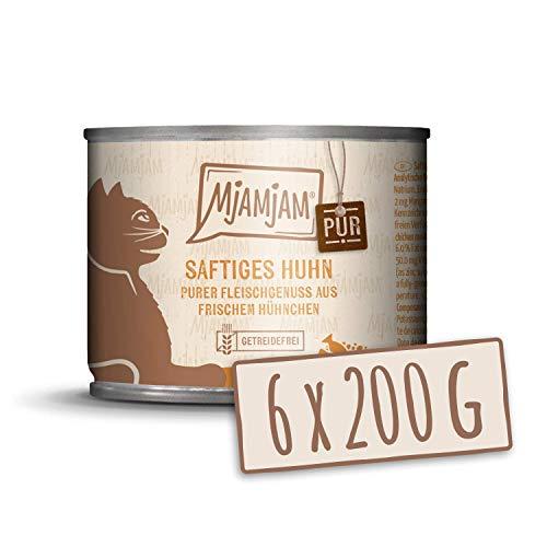 MjAMjAM - Premium Nassfutter für Katzen - purer Fleischgenuss - saftiges Hühnchen pur, 6er Pack (6 x 200 g), getreidefrei mit extra viel Fleisch
