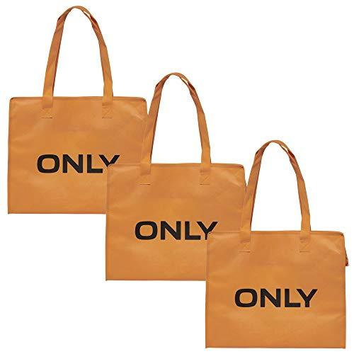 ONLY TASCHE 3er Pack Shopping Bag Umhänge Shopper Einkaufs Schulter Tasche Neu (3er Pack orange) (Stoff-handtaschen Orange)