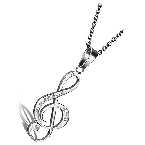 cupimatch New Fashion Silber Ton Edelstahl Strass Musik Note Anhänger Halskette mit 45 cm Kette Weihnachtsgeschenk für Männer Frauen